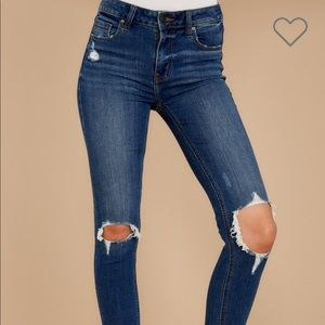 You could be famous dark distressed skinny jeans